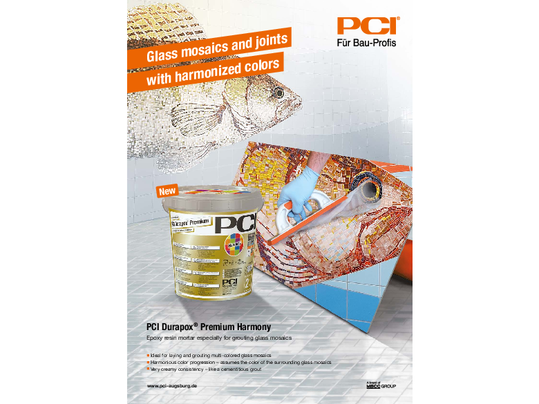 Flyer - Glass mosaics and joints with harmonized colors