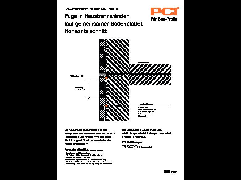 Bauwerksabdichtung Fuge in Haustrennwänden Horizontalschnitt dxf