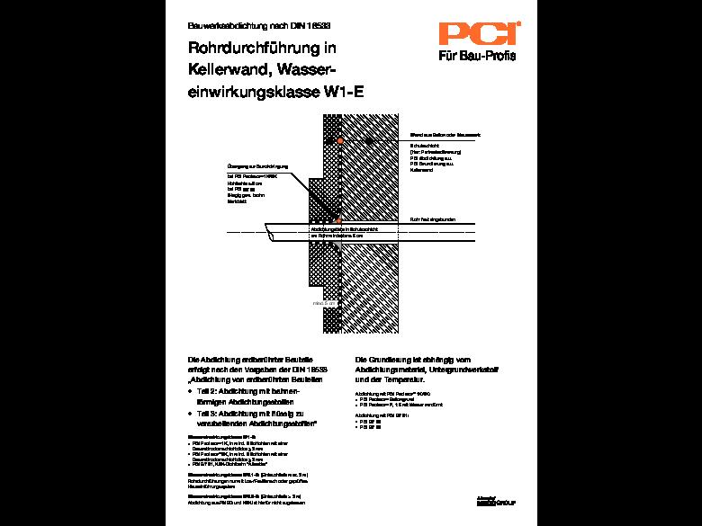 Bauwerksabdichtung Rohrdurchführung in Kellerwand W1-E dxf