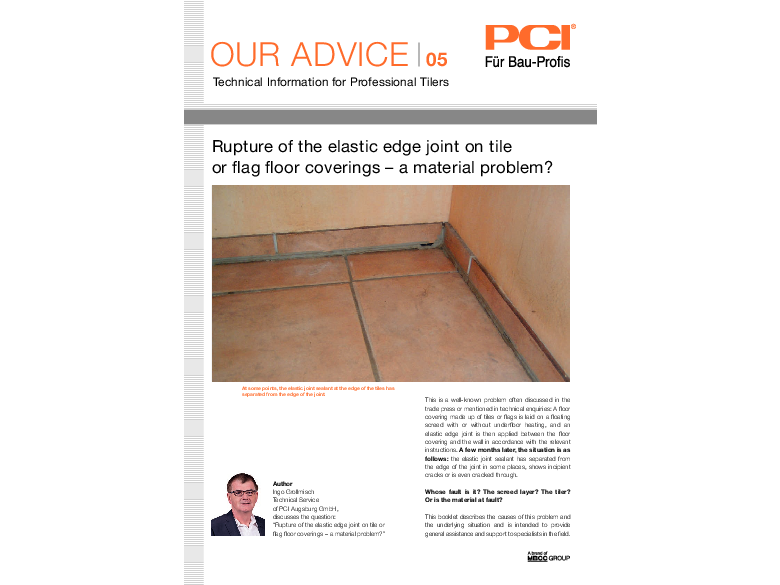 No. 05 Rupture of the elastic edge joint on tile or flag floor coverings