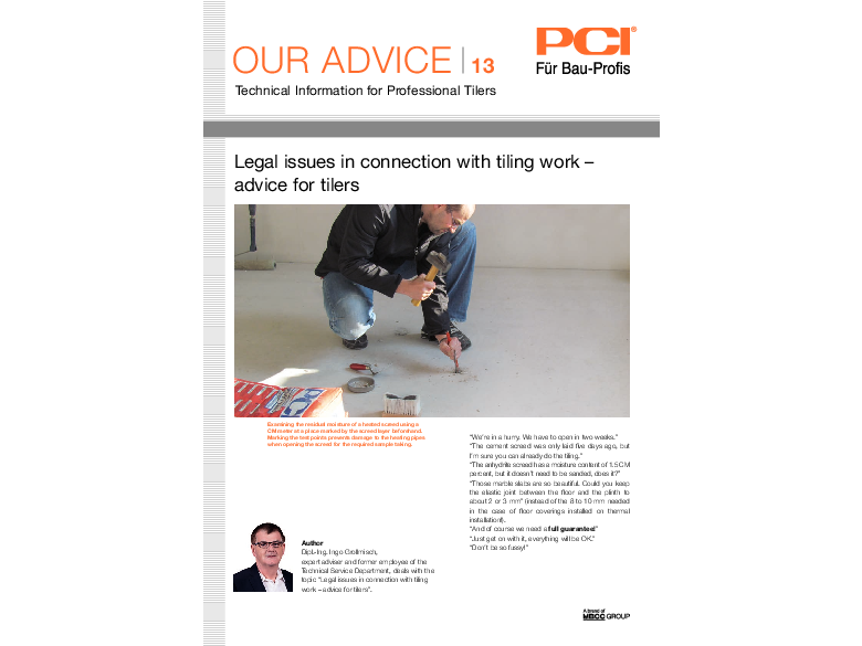 No. 13 Legal issues in connection with tiling work - advice for tilers